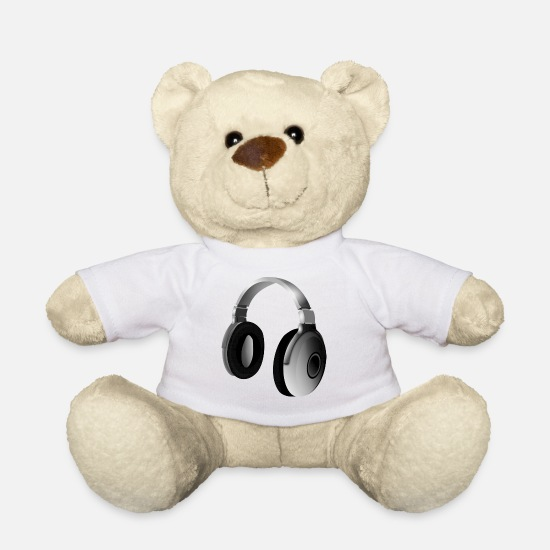 To Sing Teddy Bear Toys - Gray audio headphones - Teddy Bear white