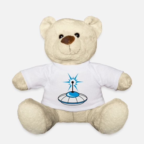 Cosmic Teddy Bear Toys - UFO blue flying saucer sparks light antenna rays - Teddy Bear white
