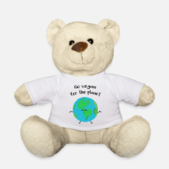"Enviromental Teddy Bear Toys - Vegan for the planet - ""Vegan for the planet"" - Teddy Bear white"