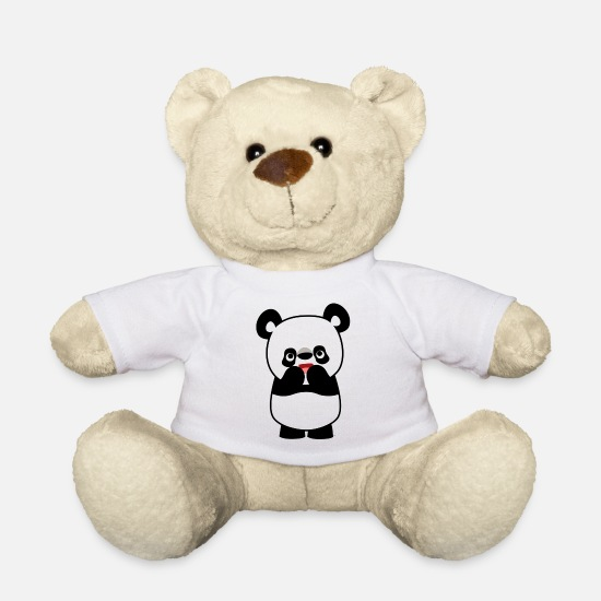 Art Teddy Bear Toys - Shy Cute Cartoon Panda by Cheerful Madness!! - Teddy Bear white