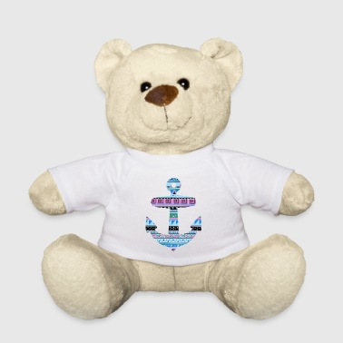 Anchor with Blue Tribal Pattern - Teddy Bear
