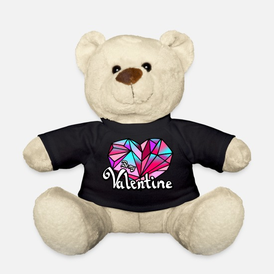 Love Teddy Bear Toys - Valentine's Day Be my Valentine geometric - Teddy Bear black