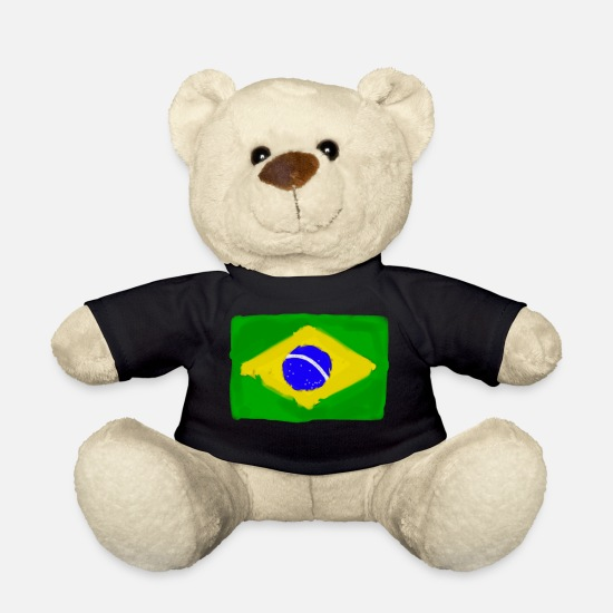Brazilian Teddy Bear Toys - Brazilian flag InWatercolours - Teddy Bear black