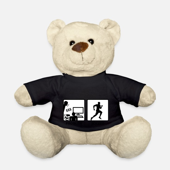 College Teddy Bear Toys - Running solves Problems - Man - Teddy Bear black