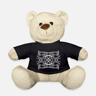 Infinite Strokes Wild Abstract Symmetric Chaos Line White - Teddy Bear