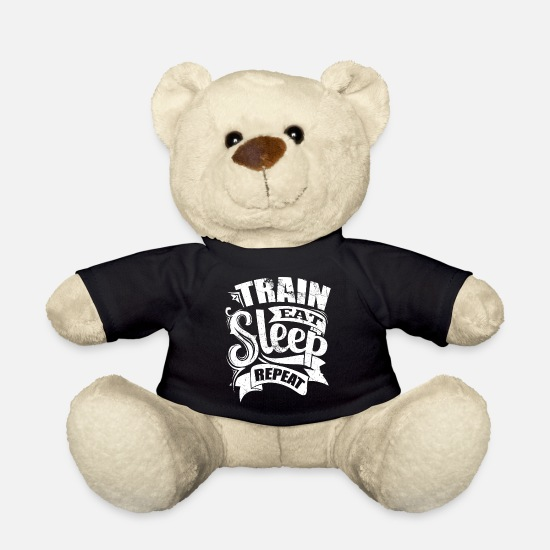 Sports Teddy Bear Toys - Train Sports Gym Quotes - Teddy Bear black