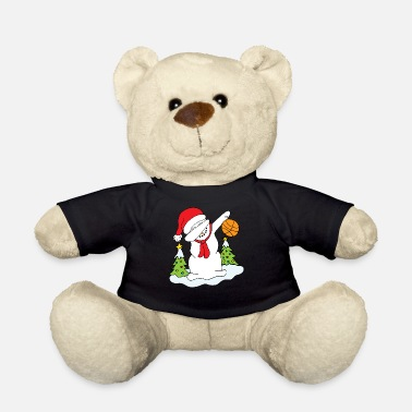 Dabbing Snowman with Basketball Christmas Xmas - Teddy Bear