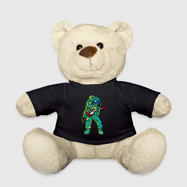 Spaceman Playing Guitar Funny Rock Cartoon Cool - Teddy Bear