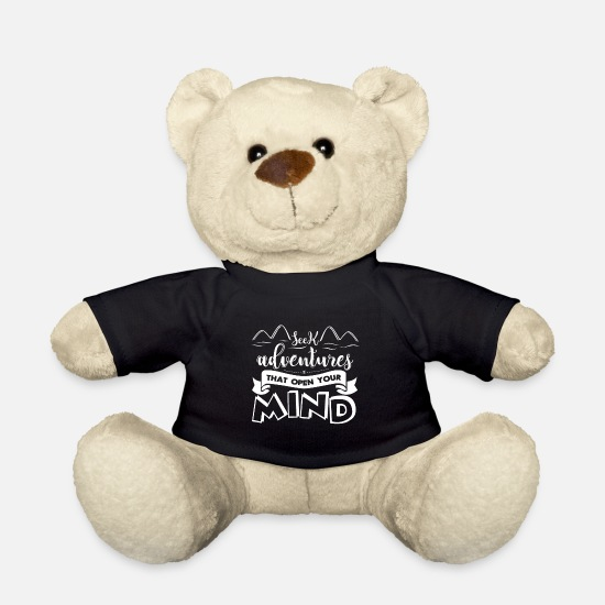 Typography Teddy Bear Toys - Open minded - Teddy Bear black