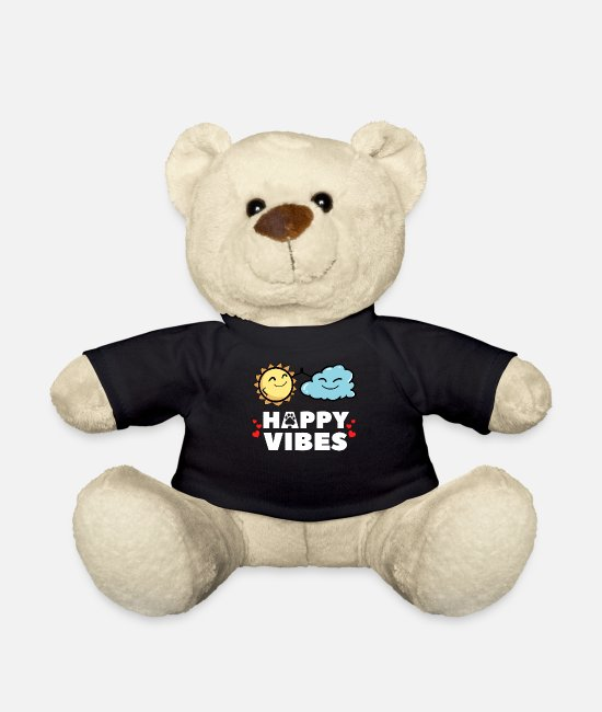 Heart Teddy Bear Toys - Happy vibes happy Happy life loving sun - Teddy Bear black