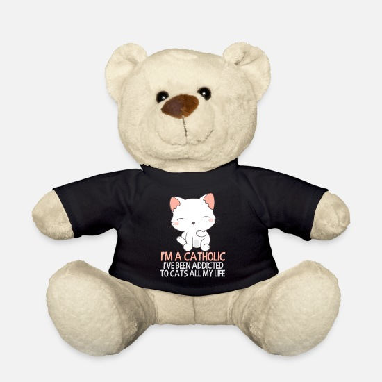 Catholic Teddy Bear Toys - Catholic - Addicted to Kittens - Teddy Bear black