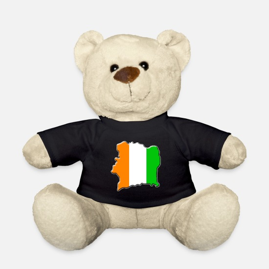Travel Teddy Bear Toys - Ivory Coast flag map - Teddy Bear black