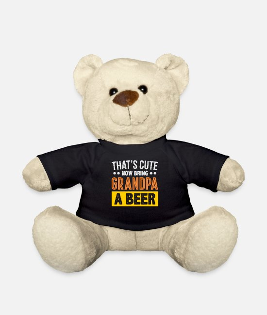 Gift Knuffeldieren - That's Cute Now Breng Grandpa A Beer - Teddybeer zwart