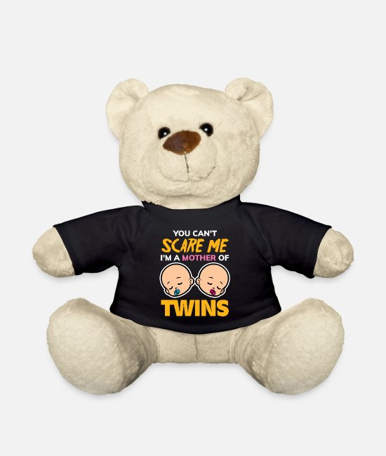 Offspring Teddy Bear Toys - Mother twins gift idea mom children - Teddy Bear black