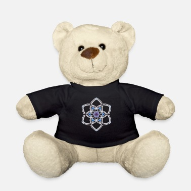Blue White Mandala white blue - Teddy Bear