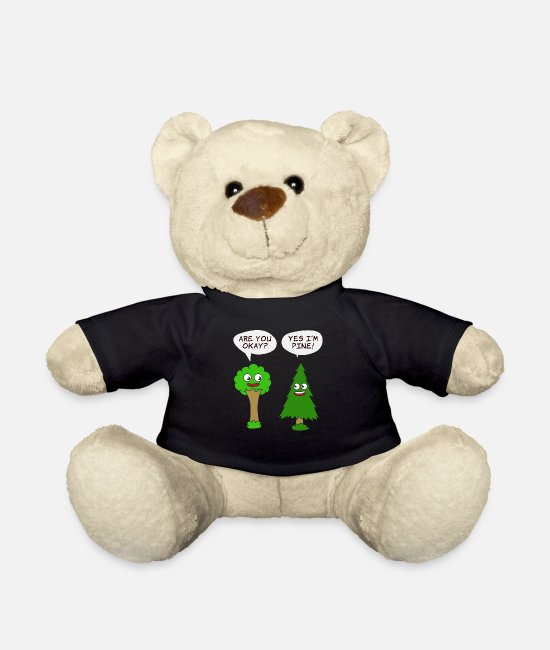 Nature Teddy Bear Toys - Beautiful Nature Tree Tshirt Design Are You Okay? - Teddy Bear black