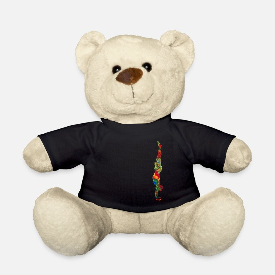 Gift Idea Teddy Bear Toys - Handstand colorfully marbled - Teddy Bear black