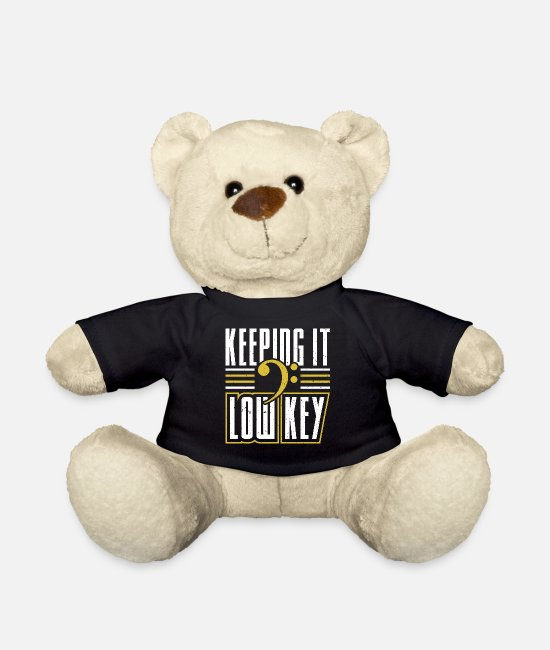 Sheet Music Teddy Bear Toys - Musician Humour Tee | Bass Clef Low Key Music - Teddy Bear black