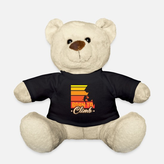 Gift Idea Teddy Bear Toys - Born to Climb Climbing on rock face - Teddy Bear black