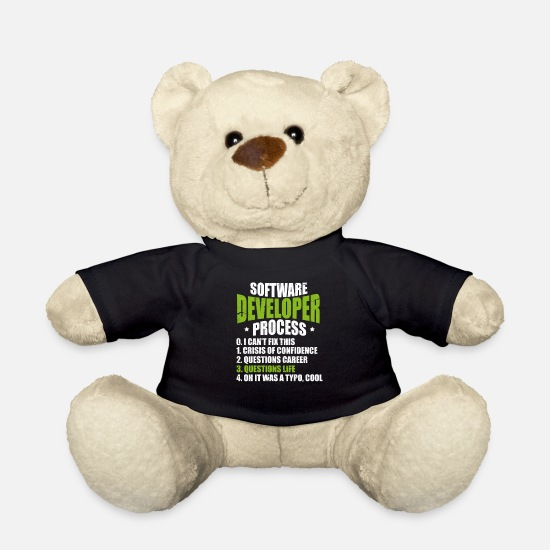 Coder Teddy Bear Toys - Software developer programmer software - Teddy Bear black