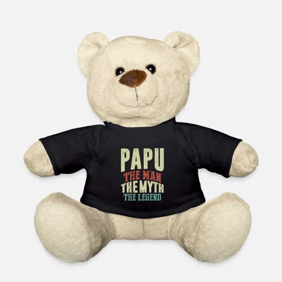 Father's Day Teddy Bear Toys - Mens Papu The Man Myth Legend Father Grandpa Gift - Teddy Bear black