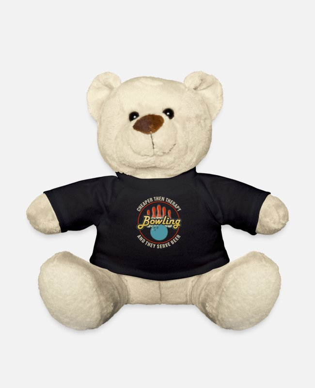Movie Teddy Bear Toys - Bowling: Cheaper Than Therapy, They Serve Beer | F - Teddy Bear black