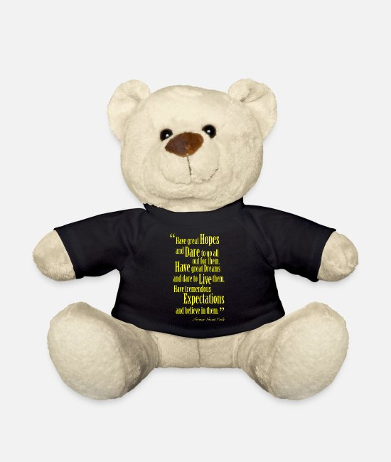 Happy Teddy Bear Toys - Inspiring Quote | Q-000003 | YW - Teddy Bear black