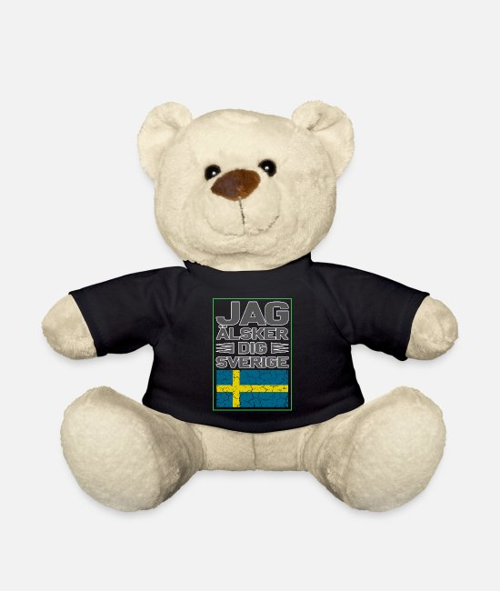 Viking Teddy Bear Toys - Jag älsker dig Sverige gift - Sweden Scandin - Teddy Bear black