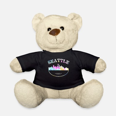 Don't Panic Grunge Seattle Skyline Distressed Look design - Teddy Bear
