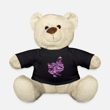 Uniform Chicken camo - purple - funny veteran and military - Teddy Bear
