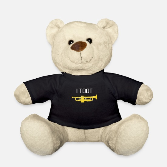 Gift Idea Teddy Bear Toys - Trumpet - I TOOT - Gift, funny brass band - Teddy Bear black