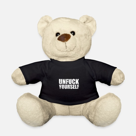 Karma Teddy Bear Toys - Unfuck Yourself I Motivation Love Hate Karma - Teddy Bear black