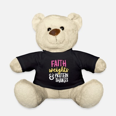 Funny Fitness Faith Weights and Protein Shakes TShirt for Women - Teddy Bear
