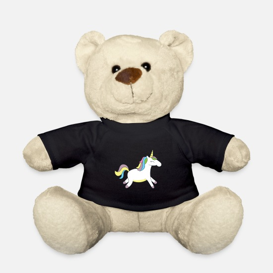 Gift Idea Teddy Bear Toys - Happy unicorn with colorful mane - Teddy Bear black