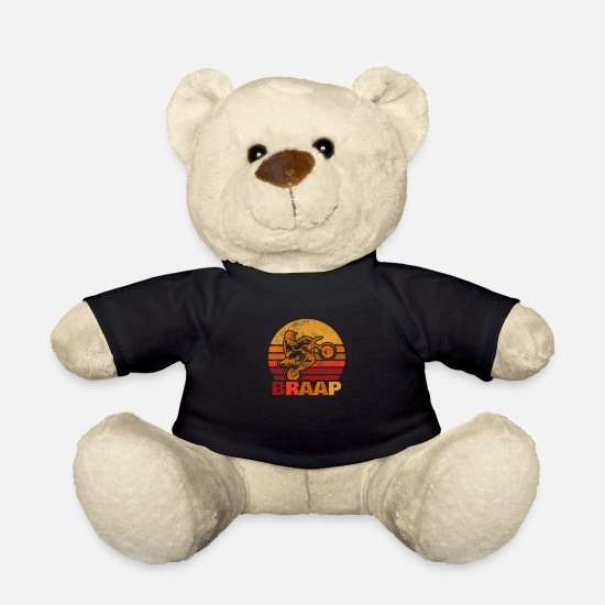 Motorcycle Teddy Bear Toys - Braap motocross motocross rider - Teddy Bear black