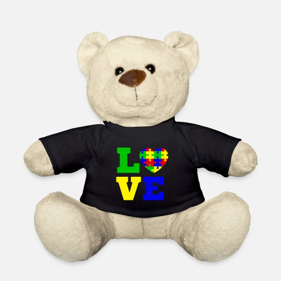 Love Teddy Bear Toys - Autism Love heart m. Puzzle Asperger Autism day - Teddy Bear black
