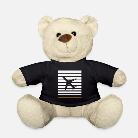 Travel Teddy Bear Toys - Airplane with white - Teddy Bear black