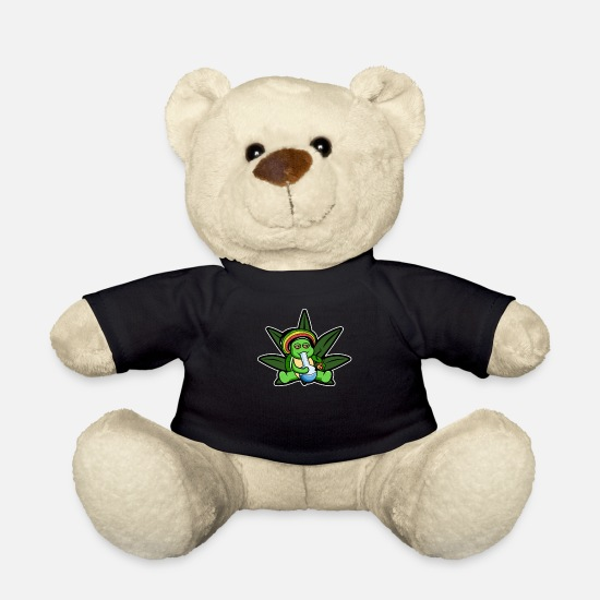 Hemp Teddy Bear Toys - Weed Chill Toad Jamaica Kiffer Cannabis - Teddy Bear black
