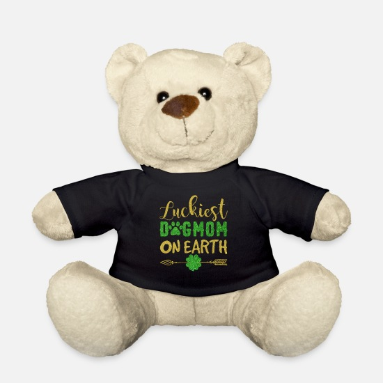 Earth Day Kuscheltiere - Luckiest Dog Mom On Earth Funny St Patrick's Day - Teddybär Schwarz