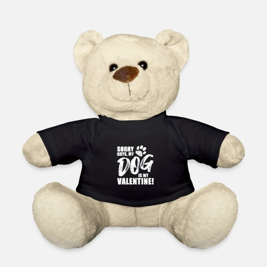 Christmas Teddy Bear Toys - Guys My Dog Is My Valentine I Dog Love Design - Teddy Bear black