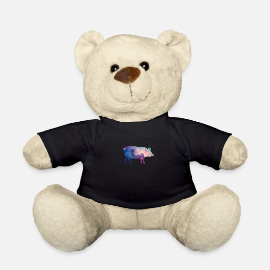 Hog Teddy Bear Toys - Galaxy Pig Star Space Gift - Teddy Bear black