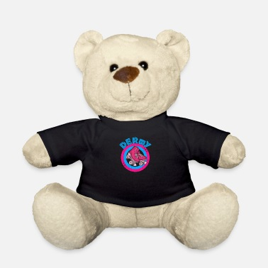 Boot Girl Roller Derby Girl 80s Skate Disco - Pink & Blue - - Teddy Bear