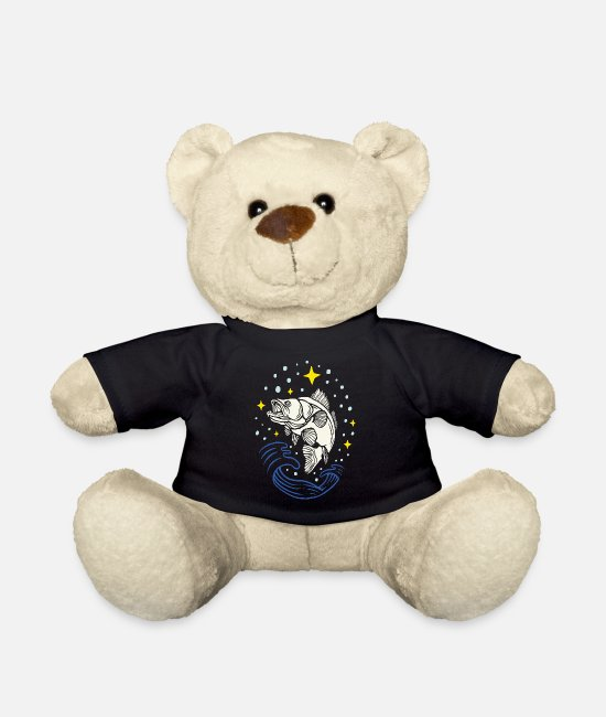 Starry Sky Teddy Bear Toys - Fish design fish angler fan fish at night - Teddy Bear black