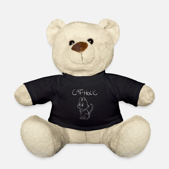 Think Teddy Bear Toys - Catholic cat. The spiritual cat. religion - Teddy Bear black