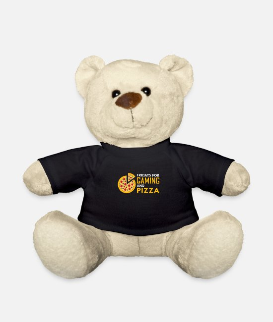 Pizza Teddy Bear Toys - Gaming Pizza Gift for Gamer Video Game Lovers - Teddy Bear black
