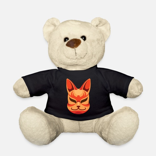 Drawing Teddy Bear Toys - Smiling Kitsune Mask. Cool Japanese Fox - Teddy Bear black