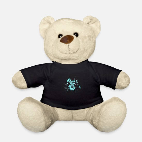 Love Teddy Bear Toys - Turquoise Blue Flowers Flowers Flower Flowers Abstract - Teddy Bear black