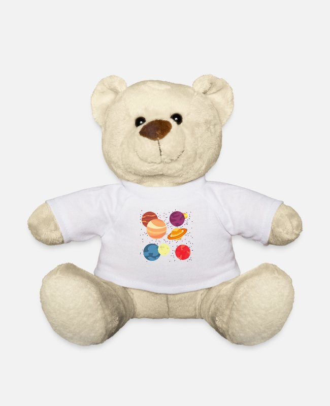 Space Teddy Bear Toys - Planets and Stars - Teddy Bear white