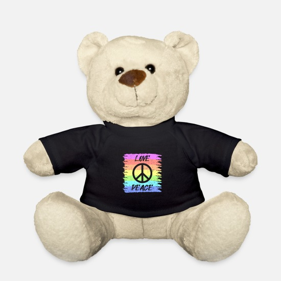 Love Teddy Bear Toys - Love Peace Hippie I Retro Vintage Sayings Design - Teddy Bear black