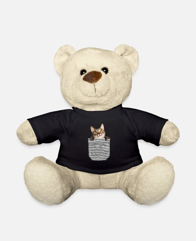 Tabby Teddy Bear Toys - Kitten in the breast pocket - Teddy Bear black